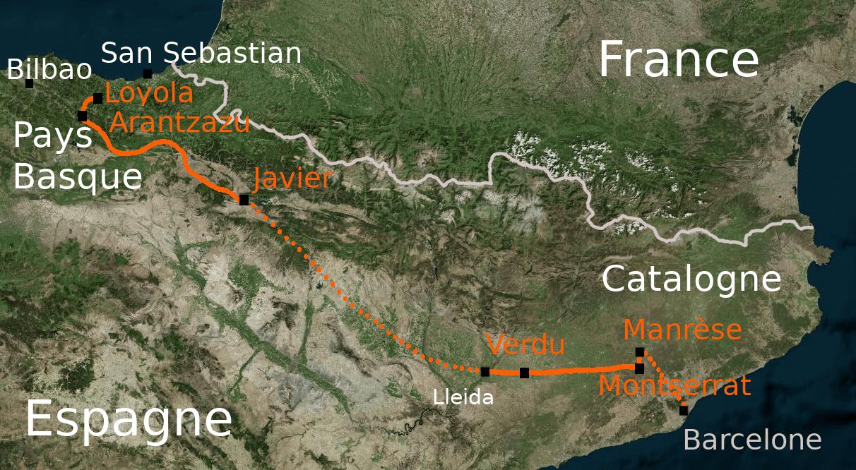 Carte du Camino Ignaciano de Loyola et Manrèse