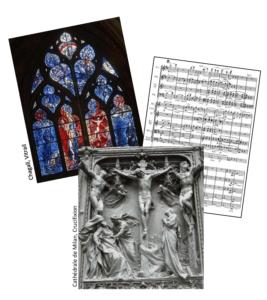 Trois œuvres d'art : un vitrail de Chagall, une crucifixion sculptée de la cathédrale de Milan et une partition de musique